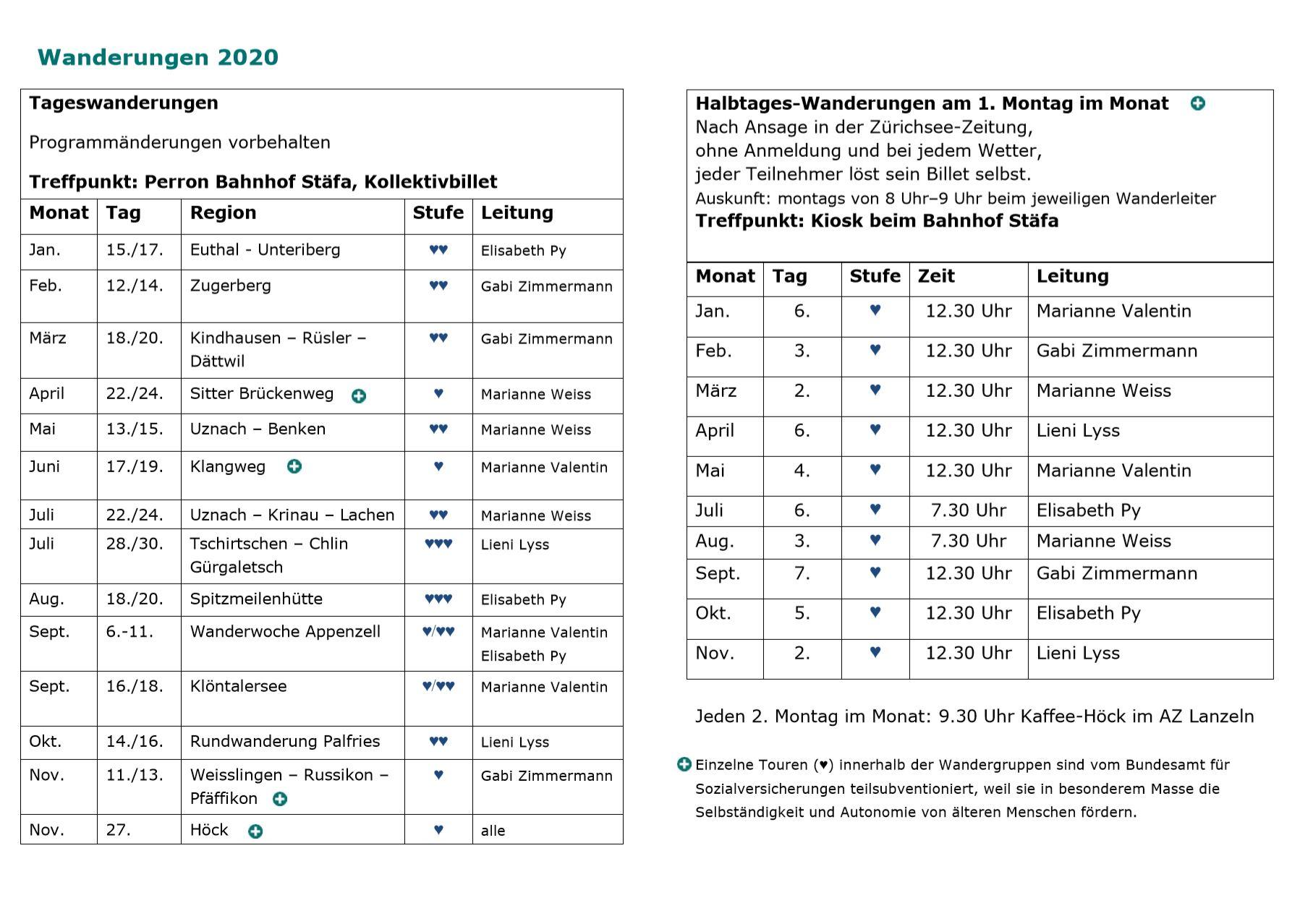 Wanderprogramm 2020 Seite 2