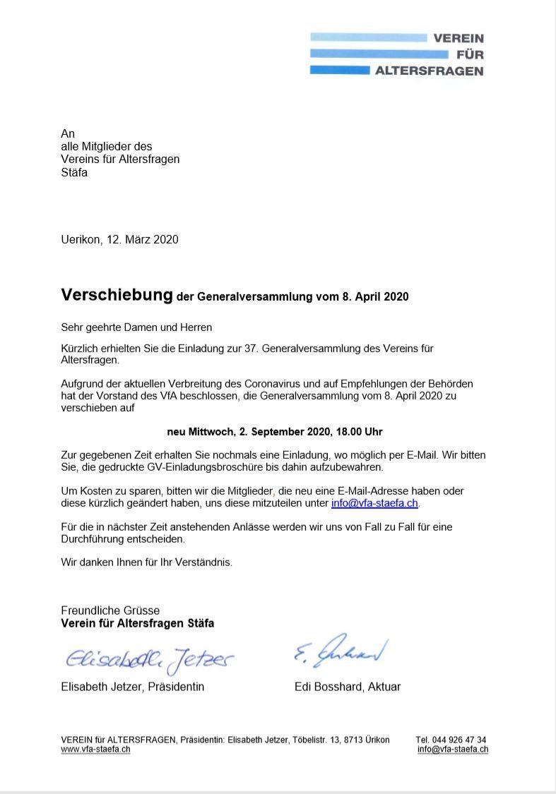 GV 2020 auf 2. September 2020 verschoben