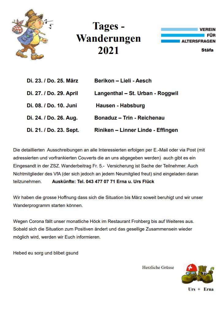 Wanderprogramm 2021
